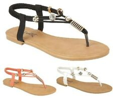 Ladies Gladiator Sandals New Womens Flat Diamante Summer Beach Shoes Size 3-8