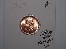 wheat penny 1927 SHARP GEM RED BU LINCOLN CENT 1927-P LOT #1 GEM UNC RED LUSTER