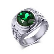 Silver Stainless Steel Green Gem Mens Ring Classic Jewelry Gothic Band Gift Mens