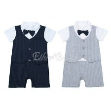 Infant Baby Boys Gentleman Short Sleeve Romper Jumpsuit Bodysuit Cotton Outfits