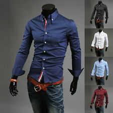 Men Luxury Casual Slim Fit Stylish Long Sleeve Button Front Dress Shirts Newest