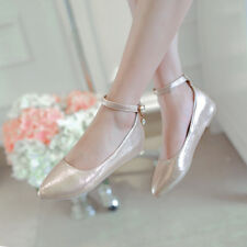 Stylish Sexy Pointed Toe Ankle Strap Buckle Loafers Women's Ballet Flats Shoes