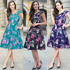 Womens Vintage Style 50's Floral Rockabilly Evening Party Ball Gown Swing Dress
