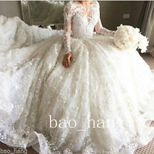 Wedding Dresses Bridal Ball Gowns Puffy Long Tail Lace White Ivory Long Sleeves