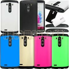 for LG G3 rugged hybrid 2 layers hard pc rubber shock proof case cover/