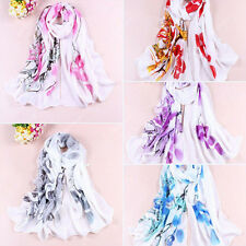 Women's Soft Ink Painting Chiffon Flower Printed Wrap Shawl Long Scarf Dazzling