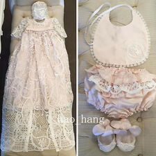 Baby Baptism Long Christening Dress +Bonnet White Ivory First Communication Gown