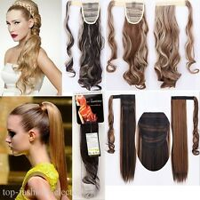 Wrap Around Clip In On Ponytail Hair Extensions Pony Tail Real Thick One Piece