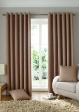 WOVEN JACQUARD SQUARES BEIGE LINED RING TOP CURTAINS DRAPES 9 SIZES