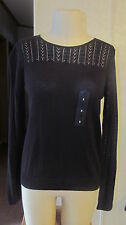 NWT Basic Edition Black Fall Sweater Crocheted top/Arms Long Sleeve Womens