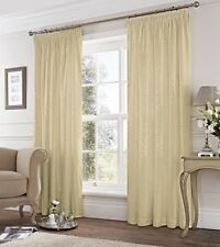 DAMASK JACQUARD CREAM LINED PENCIL PLEAT CURTAINS 7 SIZES