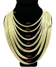 """Flat Herringbone Chain 14K Gold Plated 4mm to 14mm 18"""" 20"""" 24"""" 30"""" Necklace"""