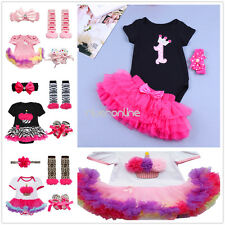 NEW Baby Girls 1st Birthday Romper Headband Tutu Skirt Outfit Set party Clothes