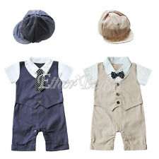 2pcs Toddler Kids Baby Boys Gentleman Outfits Clothes Romper Bodysuit+Hat Sets