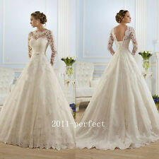 2017 Wedding Dresses White Ivory Lace Backless Bridal Gowns Ball Gown Custom New