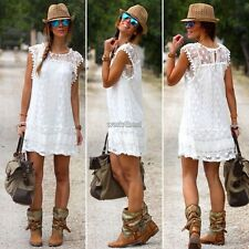 Women Fashion Sexy Casual Cap Sleeve Crochet Lace Hollow Solid Sundress WST