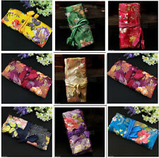 Oriental Chinese Silk Jacquard Jewelry Bag Roll Holder Organizer Travel Bag New