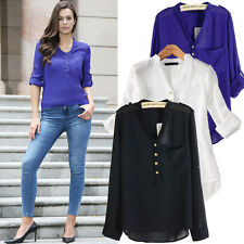 New Womens Ladies 3/4 Sleeve Chiffon Pocket Button Casual Blouse Tops Size 8-18