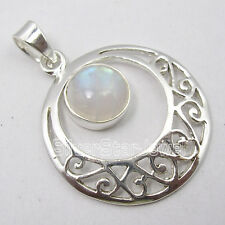 925 Solid Silver Pendant, RAINBOW MOONSTONE & Select Gemstones Of Your Choice