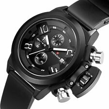 Mens Military Quartz Wrist Watch Date Day Analog Sport Black Stainless Steel New