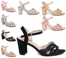 WOMENS LADIES HIGH BLOCK HEEL STRAPPY SANDALS PARTY ANKLE BUCKLE PEEPTOES SHOES