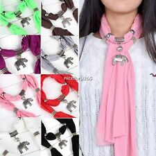Women Ladies Lightweight Necklace Scarf with Pearl or Elephant Pendant Jewelry