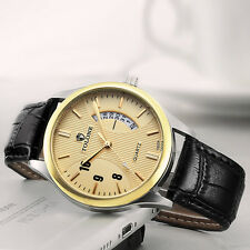 Stainless Steel Luxury Men's Date Watch Leather Analog Quartz Military Watch Hot