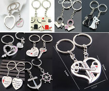 2pcs Fashion Love Heart Key Ring Keyfob Couples Romantic Keychain Lover Gift TB
