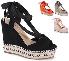 WOMENS LADIES FLATFORM ROPE ESPADRILLE WEDGE SANDALS ANKLE LACE UP SHOES SIZE