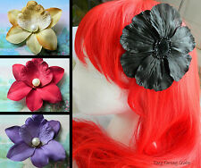 LARGE FLOWER HAIR CLIP ACCESSORY FLORAL BLACK RED GOLD BLUE PURPLE PEARL