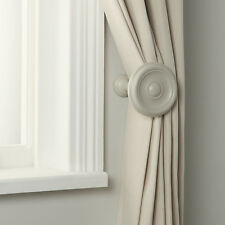 Pair of John Lewis CROFT Collection Wooden Cream Finish Curtain Holdbacks