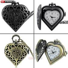 Vintage Heart Antique Pocket Watch Chain Quartz Pendant Necklace Ladies Jewelry