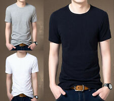 New Mens Casual Slim Fit Crew Neck T-Shirts Short Sleeve Muscle Basic Tee Tops r