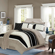 7 Pc King or Queen Bedding Comforter Set and Plush Throw Black and Taupe Striped