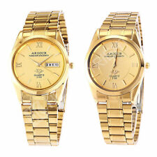 Deluxe Golden Day Date Analog Quartz Men's Stainless Steel Band Wrist Watch