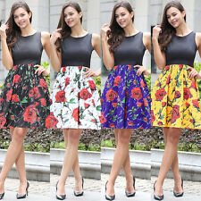 Vintage Womens Floral Print A-line Sleeveless Skater Skirt Ladies Casual Dress