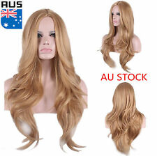 Womens Ladies 70CM Light Brown Long Wavy Curly Wigs Cosplay Party Lolita Hair