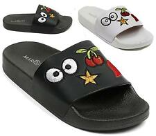 WOMENS LADIES NEW SUMMER FLAT SLIP ON EMBROIDED BEACH HOLIDAY SANDALS SHOES SIZE