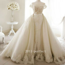 2017 Wedding Dresses White Ivory Lace Bridal Ball Gowns Detachable Train Custom