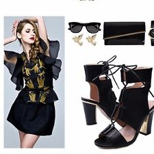 Comfort Crossing Strappy Lace Up Block High Heels Sandals Slingback Women Shoes