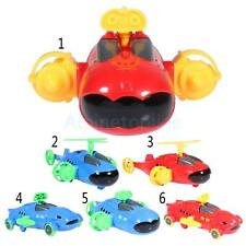Kids Plastic Pull Back Assembled Red/Blue Submarine/Airplane/Car Model Toys