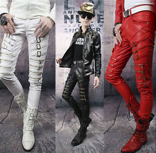 New Mens Slim fit Buckle Straight Patent Leather Pencil Pants Casual Trousers