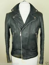 Men's genuine black Cow leather Jacket biker Bomber cowhide Coat = LJ1197
