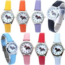 Cute Lovely Girl Boy Horse Leather Quartz Student Kids Cartoon Wristwatch U11