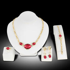 Fashion Gold Plated Chain Necklace Ring Bracelet Earrings Jewelry Set Exotic
