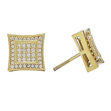 Mens 18K Gold Finish Hip Hop Bling Iced Out CZ Micropave Screw Back Stud Earring