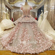 3D Applique Wedding Dress Cathedral Train Luxury Crystals Beads Bridal Ball Gown