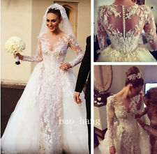 Sexy Sheath Wedding Dress with Detachable Skirt Applique Bead Bridal Gown Sleeve