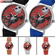 Analog Leather Quartz Wrist Mens Watch Nightmare Before Christmas Badge Dial DIY