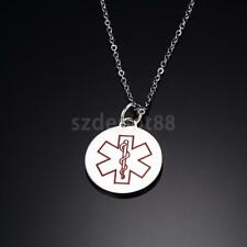 Medical Alert ID Chain Necklace Medical Cross Engraved Pendant for Men Women